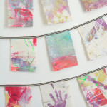 Painted Fabric Wall Hanging for your child's room. Turn their art into a garland!