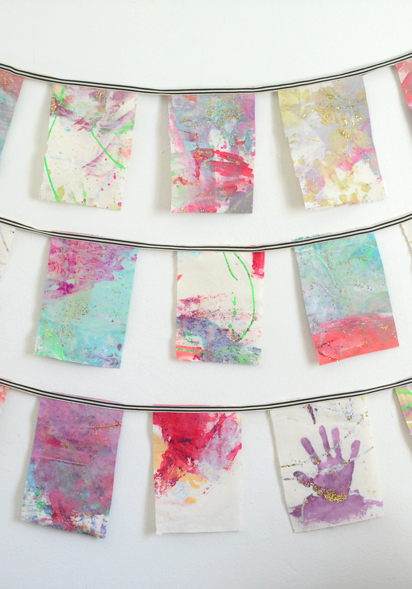 Painted Fabric Wall Hanging from Your Child's Artwork