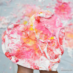 Shaving Cream Splatter Paint Hearts