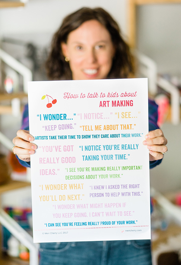 How to talk to kids about art making poster